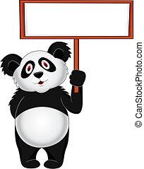 Panda con una señal en blanco