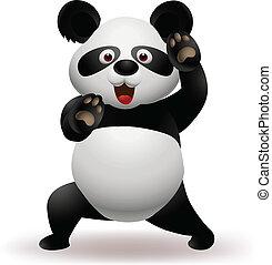 panda, divertido, ilustración, vector