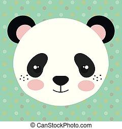 panda, oferta, oso, lindo, cabeza, carácter