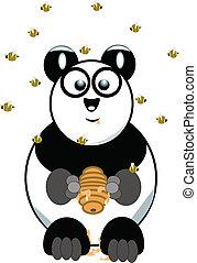 Panda oso con colmena en blanco