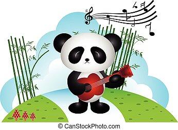 Panda tocando la guitarra en el parque
