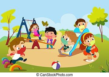 pandemia, patio de recreo, juego, niños, ilustración, durante
