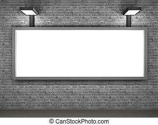 panel, calle, publicidad, ilustración, noche