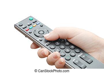 Panel de televisión en mano femenina
