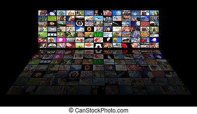 Panel de TV muestra películas