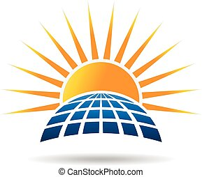 Panel fotovoltáico de energía solar. Diseño gráfico Vector