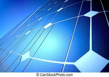 Panel solar brillante y brillante, primer plano