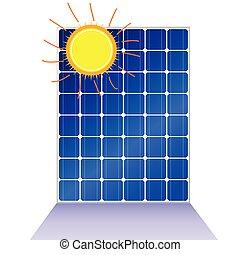 Panel solar con ilustración del vector solar