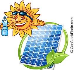 Panel solar de dibujos animados con sol