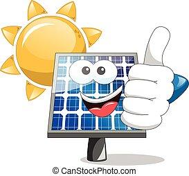 Panel solar pulgar hacia arriba