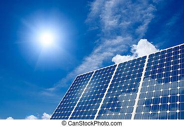 Panel solar y sol