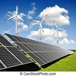 Paneles de energía solar, turbinas eólicas
