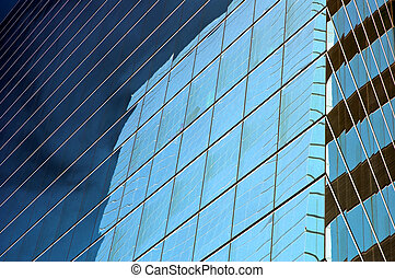 Paneles de vidrio azul