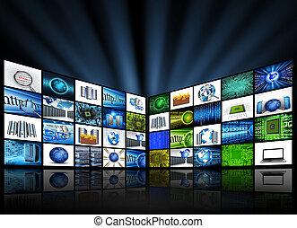 Paneles planos con imágenes tecnológicas