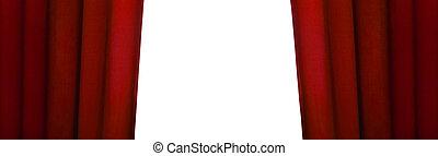 panorámico, cortina, abierto, rojo