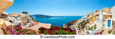 panorama, aldea, santorini, oia, isla