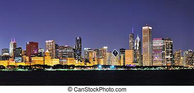 panorama, chicago, noche