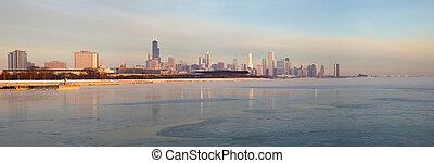 Panorama de Chicago al amanecer