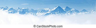 Panorama de paisajes de montaña de nieve alpes