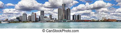 Panorama del horizonte de Detroit
