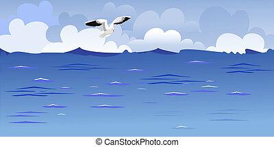Panorama del océano con una gaviota