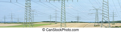 panorama, eléctrico, suministro, pilones, muchos, potencia