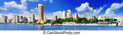 panorama, el cairo, egypt., river., nilo, seafront