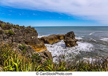 panqueque, roca, nueva zelandia
