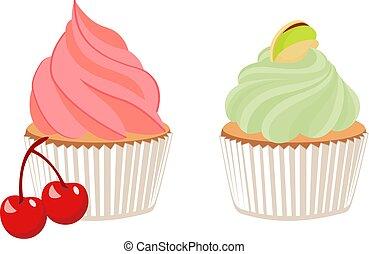 Panquequecito de pistacho y pastel de cereza. Ilustración de dibujos animados de Vector sobre fondo blanco