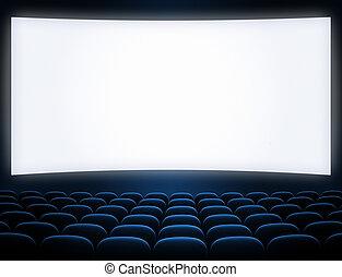 pantalla azul, cine, asientos