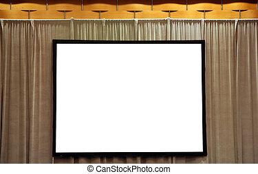 Pantalla blanca en blanco para la presentación
