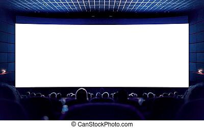 Pantalla blanca en el cine y el público viendo la película. Cine.