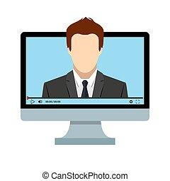pantalla, cuándo, distancia, learning., estancia, internet, jugador, home., educación, computadora, usted, en línea, vídeo, acceso