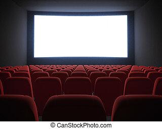 Pantalla de cine con asientos