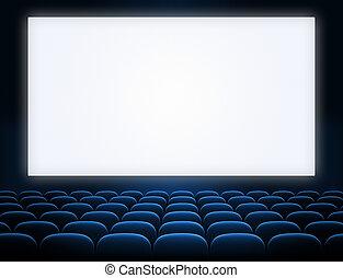Pantalla de cine con asientos azules abiertos