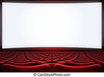 Pantalla de cine con asientos rojos con ilustración 3D