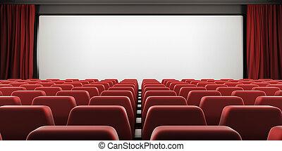 Pantalla de cine con asientos rojos y cortinas abiertas. 3D.