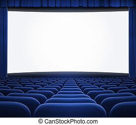 Pantalla de cine con cortina azul abierta y asientos
