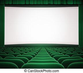 Pantalla de cine con cortina verde abierta y asientos