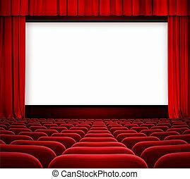 Pantalla de cine con cortinas abiertas y asientos rojos