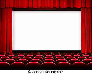 Pantalla de cine con cortinas rojas y asientos
