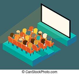Pantalla de cine vacía con público. Isometría en estilo plano