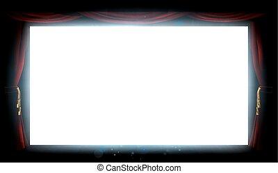 Pantalla de cine y cortinas