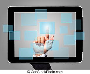 Pantalla de mano con icono virtual