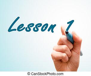 pantalla, escritura, 1, pluma, manos, lección