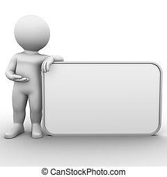 pantalla grande, blanco, tabla, anuncio