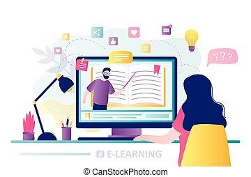 pantalla, mirar, educación, hogar, en línea, profesor, schooling., computador portatil, course., lugar de trabajo, mujer, hombre, moderno