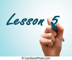 pantalla, pluma de la escritura, 5, manos, lección