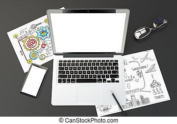 Pantalla portátil en blanco, celular, notas de negocios y gafas, remitente 3D, maqueta