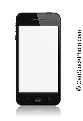 pantalla, smartphone, moderno, aislado, blanco